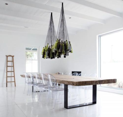 how about using your empty wine bottles as a chandelier? great way to reduce your carbon footprint and be cool at the same time. love it!