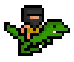 A Caveman riding a Dinosaur, rendered in an impressively tiny 30 x 20 pixel resolution.  This has given me a BRILLIANT idea for a new game. Shame I can't program to save my life. : (  Requested by: http://jakemask.tumblr.com/
