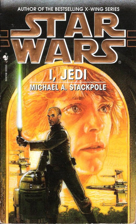 I, Jedi by Michael A. Stackpole (1998, Bantam) In my reviews of his X-wing novels, I think I've made it clear that Michael A. Stackpole is among my favorite authors who have written in the Star Wars universe. His ability to create memorable and original Star Wars characters is rivaled only by Timothy Zahn, and his talent for exciting space dogfights is unmatched.  I'm especially fond of Stackpole's signature Star Wars character, Corran Horn, a Corellian cop-turned New Republic fighter pilot with a strong sense of justice, a Jedi heritage, and an excess of pride and ego.  Because of my appreciation for Stackpole and Corran Horn, it was pretty much a foregone conclusion that I would love I, Jedi. Unique among full-length Star Wars novels, I, Jedi is written in the first person, from Corran's perspective. I find it bizarre that many fans seem to be uncomfortable with this, as if first person perspective is some crazy, experimental style that doesn't belong in a Star Wars book. I, for one, appreciate departures from the house style I've noticed in Star Wars novels, where everyone writes in third person limited and tries really hard to be Zahn.  The first large chunk of I, Jedi takes place during the events of Kevin J. Anderson's Jedi Academy Trilogy. If you check out my reviews of those books, you'll see that I enjoyed them well enough, but thought they were fairly flawed. In I, Jedi, Stackpole gives the same events a more intimate treatment, fleshing out the personalities of the students at Luke's Jedi Praxeum and getting into the personal conflicts that arise from being terrorized by a Sith ghost and having a student fall to the dark side and blow up a solar system.  Corran joins Luke's academy on Yavin 4 in hopes of gaining the needed ability to locate and rescue his wife, who has been captured by a particularly nasty group of space pirates. Corran's stubborn insistence on doing things his own way causes him to butt heads with Luke on a number of occasions, but it's his deductive reasoning that draws out the ancient Sith lord Exar Kun and enables the Jedi students to defeat him.  Luke's decision to take the repentant Kyp Durron back as a student is too much for Corran, who strikes out on his own, infiltrating the pirates to find his wife—and essentially turning his back on his identity as a Jedi. While undercover, Corran realizes that he isn't as immune to the dark side's influence as he'd suggested during an argument with Luke. His pride begins to get the better of him, and he faces the temptation to take the quick and easy path to rescuing his wife, at the expense of his fidelity to her and to everything he stands for.  I, Jedi, at 577 pages, is pretty long for a Star Wars book, but it never overstays its welcome. It shifts gears several times, thrusting Corran into completely different situations that keep things fresh and interesting. The first person format allows for a lot of introspection, but Stackpole doesn't skimp on starfighter battles and lightsaber combat. Running throughout the novel is what I think is a good message about learning to grow and change without sacrificing that which makes you who you are. I, Jedi is Stackpole's finest Star Wars work, and easily one of the best tales to grace the expanded universe.