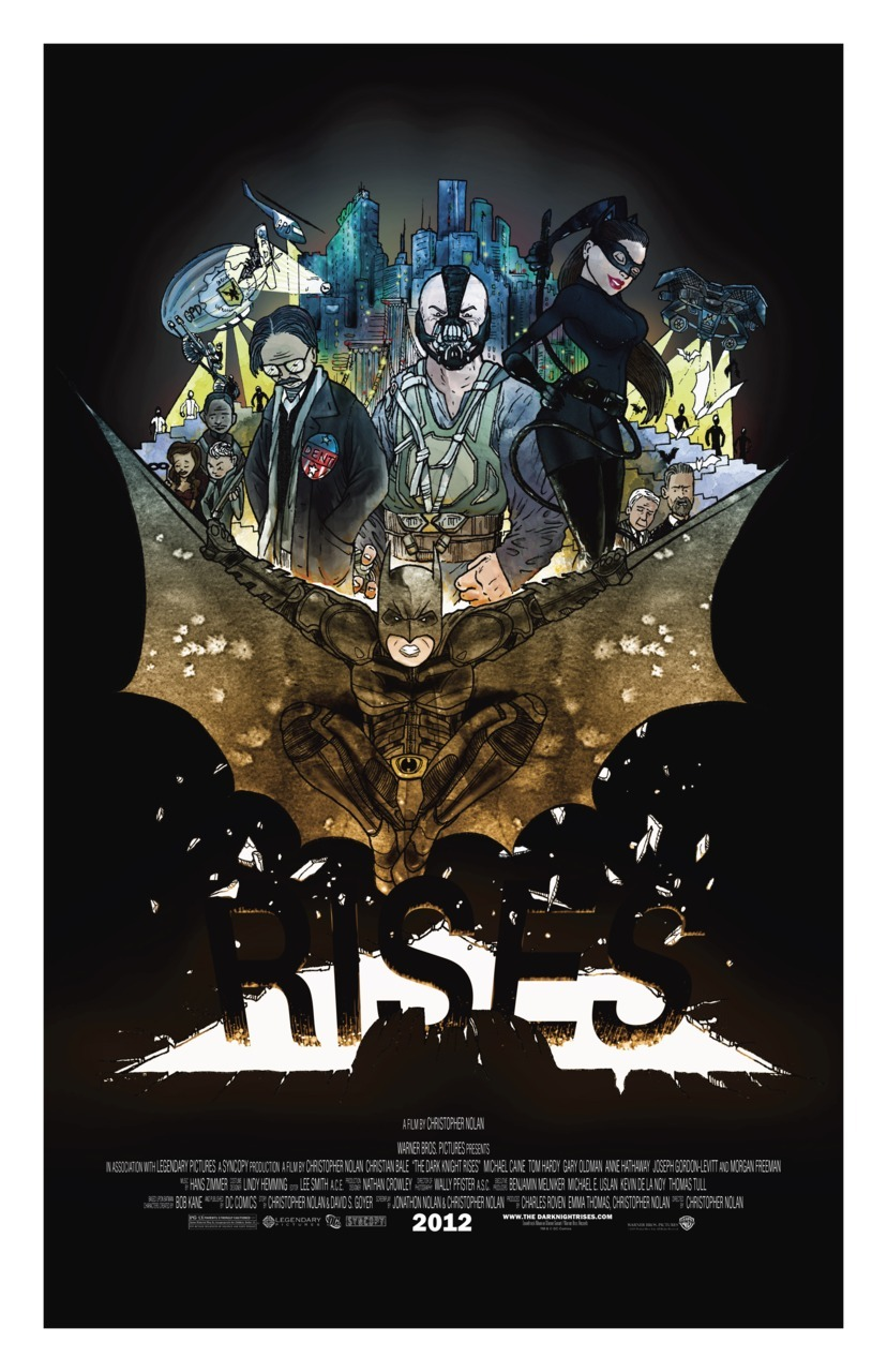 "dcplanet:  ""The Dark Knight Rises"" is part of a line of promo posters in the style of my children's book.  Find more by clicking the pic! jaseycrowl.com & yourecolor.com   Original art and writing © Jasey Crowl 2012"
