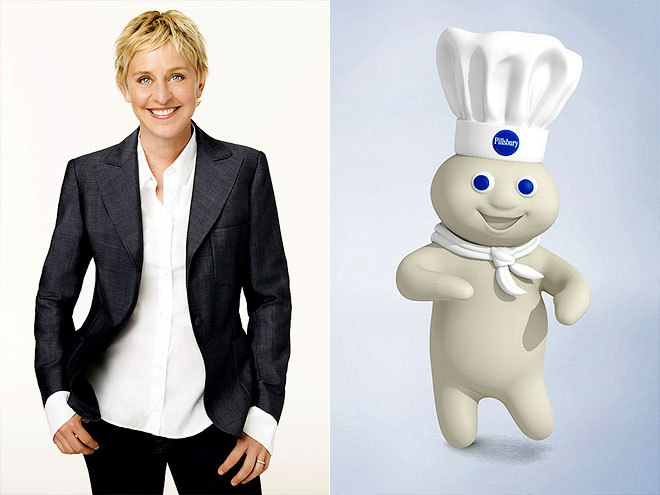 """If they have a problem with spokespeople, what  about the Pillsbury Doughboy? He runs around without any pants on,  basically begging for people to poke his belly. What kind of message is  that?"" Ellen DeGeneres, making light of the campaign launched by the anti-gay group One Million Moms to have her fired from her new JCPenney gig, on her daytime show"