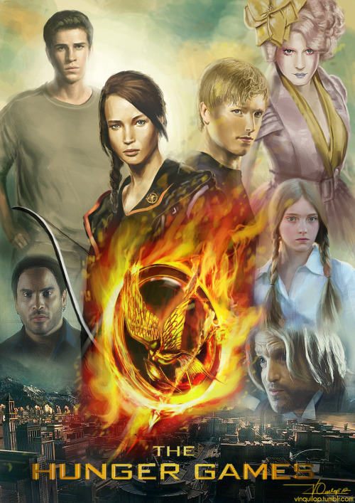 vinquilop:  The Hunger Games FINALLY! After 9 or 10 hours or so, I'm done with this fuckin' poster! Just so you know, I painted every face in this poster. Effie's time-consuming 'cos I had to remove the details from her dress and also reduce some things on her wig. The flaming mockingjay's also a painting in which I had to watch a tutorial on YouTube on how to paint those flames. The tut's good so kudos to him! :-D AGGGHHH can't wait for this movie to premiere on March! 9/10 hours Wacom Bamboo Pen + Adobe Photoshop CS5 Happy Hunger Games! And may the odds be ever in your favor!