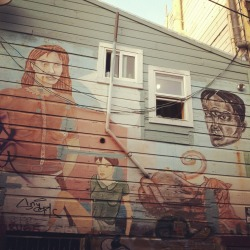 An artistic mural from the Clarion Alley Mural Project in San Francisco.