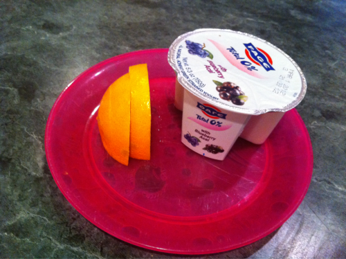 Breakfast. Fage and the quarter of an orange that my kids didn't eat. There was also coffee.