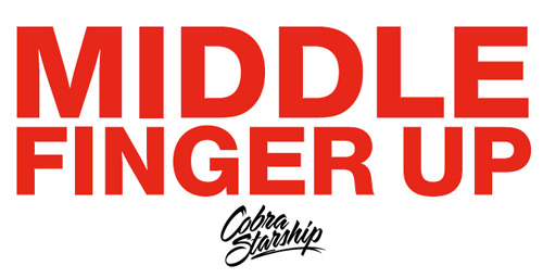 Are you passing out these Cobra Starship 'Middle Finger' stickers at shows, or have you received one? Post photos of either you or others holding up the stickers on our Facebook Wall!  Email erick@fueledbyramen.com after you post your photos with your name, mailing address, and t-shirt size.  We're sending out a merch in exchange for amazing photos while supplies last!