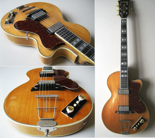 "1965 Hofner Club 60 Embraced by the figures of the british invasion, this magnificient piece of german craftsmanship quickly gained in popularity, both in UK and US. (although the 500/1 bass was Hofner's flagship, thanks to Paul McCartney). Maple, Spruce and Ebony (neck and bridge), the club 60 was topping the club series as a ""deluxe"" model. For sale"