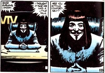 "ALAN MOORE on the use of the Guy Fawkes mask on Occupied Wall Street and various protest movements around the world.   ""In terms of a wildly uninformed guess at our political future, it feels something like V for validation.""  Everything I know about anarchy as a political theory I know from comics, of course. But it's arguable that a picture of a Guy Fawkes mask at Occupy Wall Street is not only the best, but really only adaptation of V FOR VENDETTA possible. While OWS was and is equal parts inspiring, troublesome, invigorating, and embarrassing, the disorganization and lack of a single, authoritative agenda that its critics attempted to use to discredit it was in fact its elusive and maddening strength.  What I took from it, at least, was pure anarchy: at the heart of a financial system that seemed unaccountable even to elected government, humans came and said: your control is limited.  You don't control us. You don't fully control even this PRIVATE public park. And except by virtue of our consent—or your sheer force—you never did.  OWS denied their consent to governance, and they were met with sheer force. This was always, logically what would and perhaps even SHOULD occur. But the point was proved.  And you still see that mask around.  That is all."