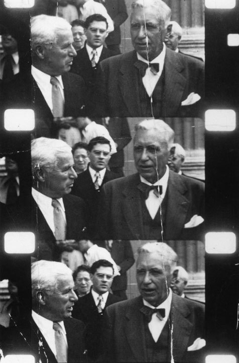 Charlie with Mack Sennett at D W Griffith's Funeral, July 1948