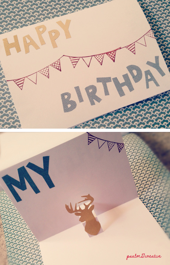 "DIY pop-up birthday card for my wonderful hubby Happy Birthday, my ""deer""!"