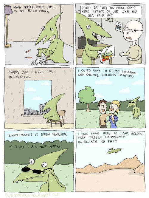 sleepdraw:  Pterosaur makes comics