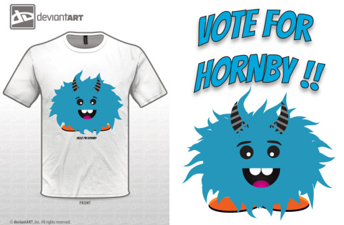 Please vote for my design. This is Hornby. He has nine brothers and sisters, all who are 5 feet tall. Hornby has always been small and would like to know what it feels like to be tall. Your vote will give him that chance. So please vote for the little guy. linkehttp://coco1994.deviantart.com/#/d4p99yx