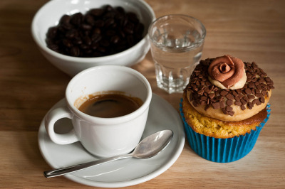 Peanut Butter cupcake & espresso by amerigo on Flickr.