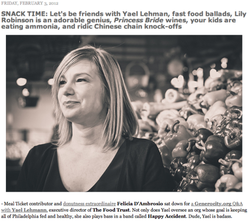 City Paper featured our Q&A with Yael Lehmann in their Snack Time post! We feel pretty cool.