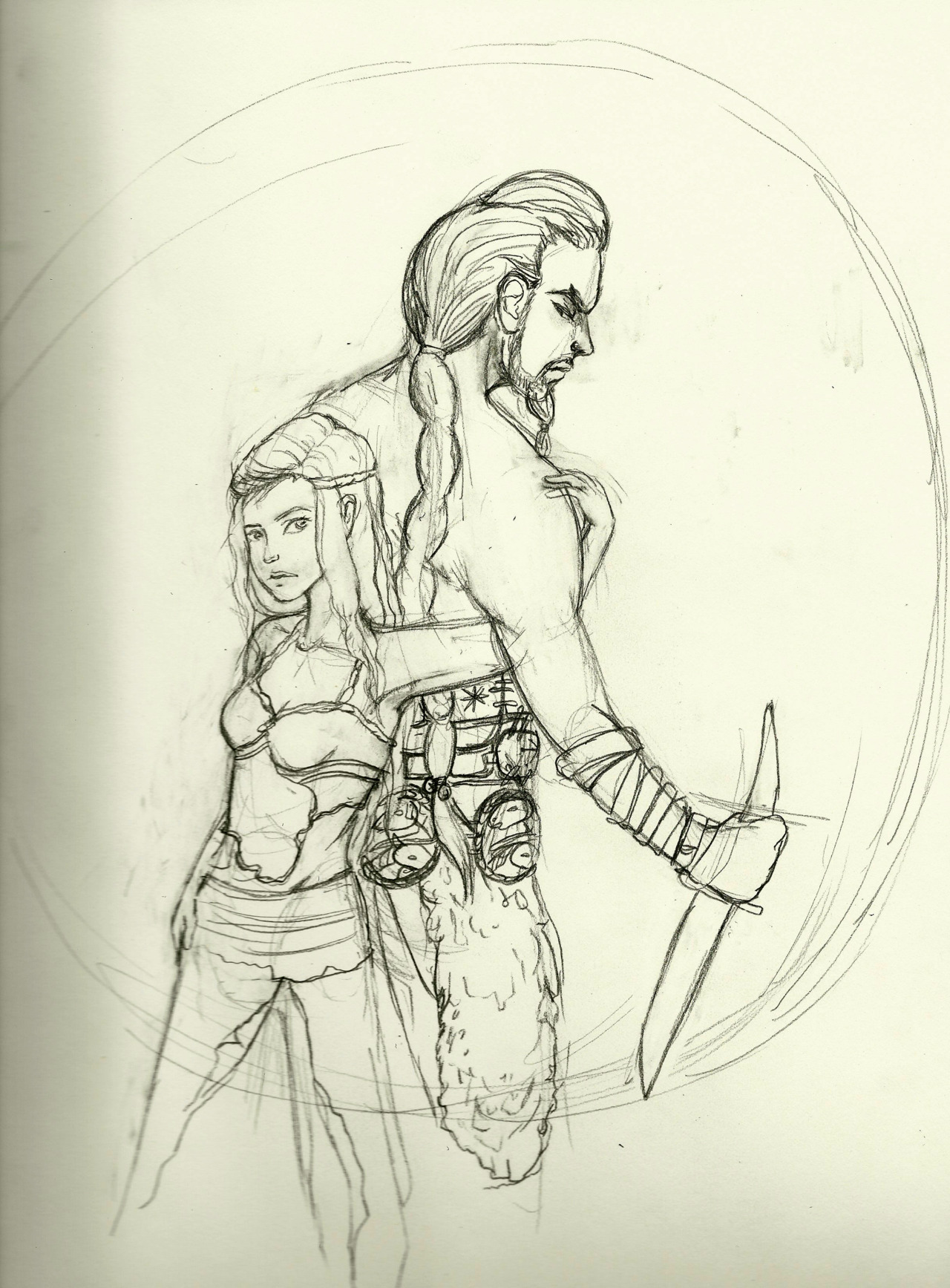 sketch of Khal Drogo and Daenerys Targaryen from Game of Thrones :D I read the first two before the show came out and I was hooked. I still need to get around to finishing A Dance with Dragons. I was inspired to draw these guys after I saw my friend Sara (ohmonah)'s sketches * o *
