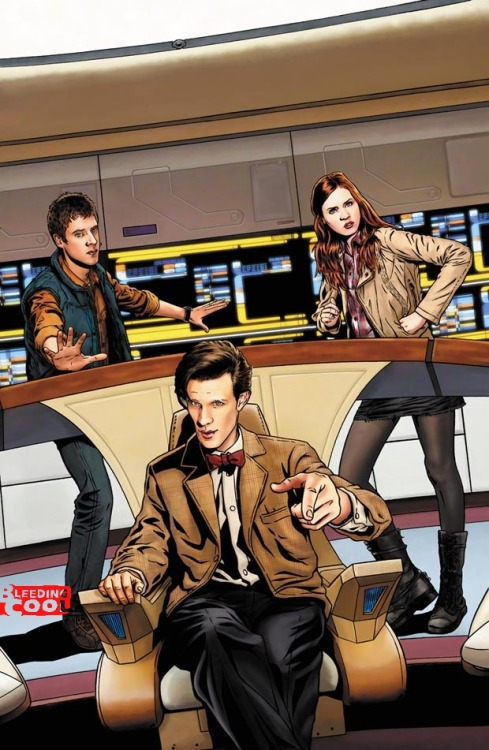 Rumor: IDW Doctor Who/Star Trek: The Next Generation crossover kanenwriter:  [IT IS RUMORED THAT]  in May, IDW are to publish a Doctor Who/Star Trek: The Next Generation  crossover series. Featuring The Doctor, Rory, Amy, Captain Picard,  Worf, Data, Geordie LaForge, Deanna Troy, Will Riker and the rest. And  that this art, featuring the Doctor, Rory and Amy on the bridge of the  Enterprise is a cover that will be used in the series. The fact that this would be specifically the 11th Doctor meeting specifically the TNG cast has me very interested.