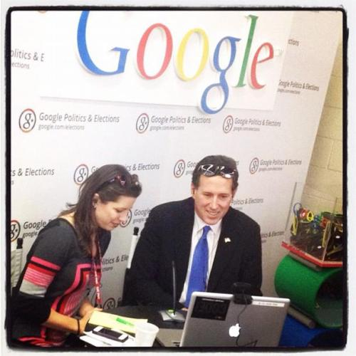 Rick Santorum visits Google at CPAC.