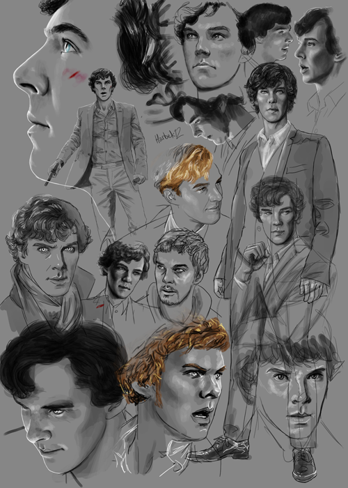 dependingontheweather:  harbek:  Benedict study.  His face. In lots of different well drawn ways. HOLD ME IT'S GORGEOUS.
