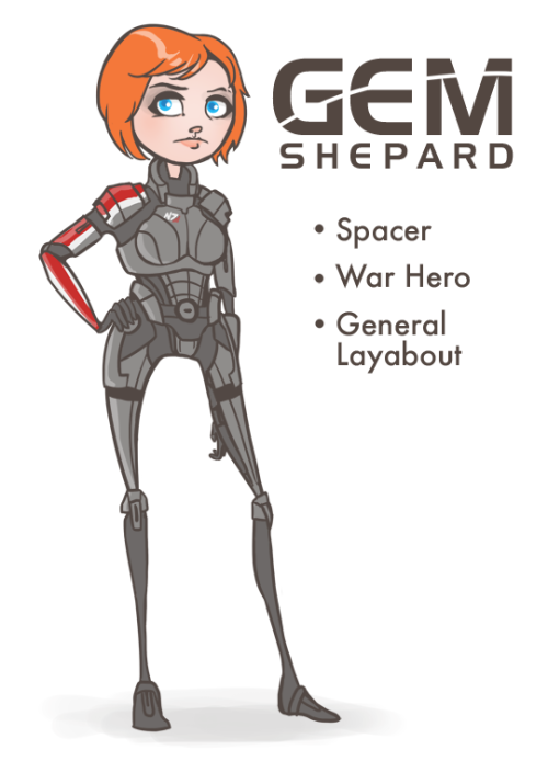 On this most auspicious Femshep Friday I've written an introduction post for Gem Shepard, my main, and the one I'll be using on my first ME3 playthrough. The full write-up is at a blog I started with my friend Jordyn to document the week she comes to visit me and we play through the game for the first time. We're going to be posting videos and art and completely ridiculous things all week, and in the few remaining weeks until launch.  You can see more at gemanddizzy.com.