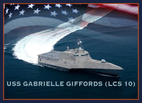 nbcnightlynews:  U.S. Navy to name new combat ship for former Rep. Gabrielle Giffords.  Photo via U.S. Navy.   First thought: aw, that's nice of us. Second thought: wait, the congresswomen was a victim of an act of violence, so we decide to name a warship, that is capable of causing more violence, in honor of her. that doesn't seem right to me.