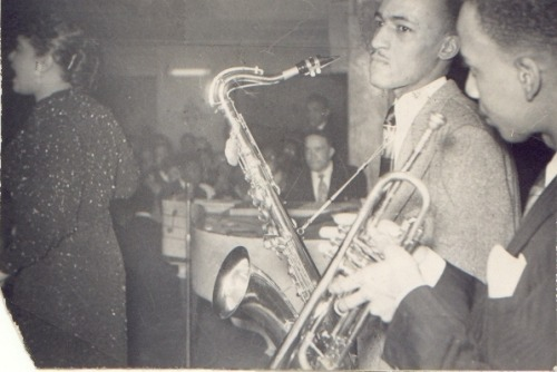 Rare Photo: The Claude McLin combo backs Billie Holiday at the Pershing Ballroom, probably during the last quarter of 1948. Ed McLin is on trumpet and Wild Bill Davis is at the piano. Photo courtesy of Greg McLin.