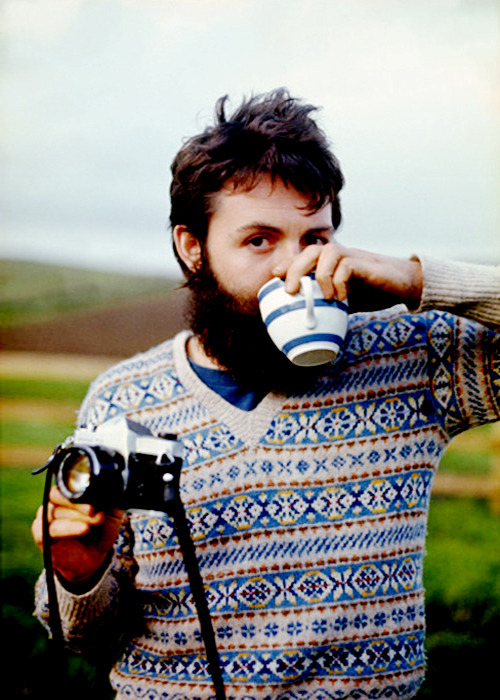 Paul McCartney with tea.