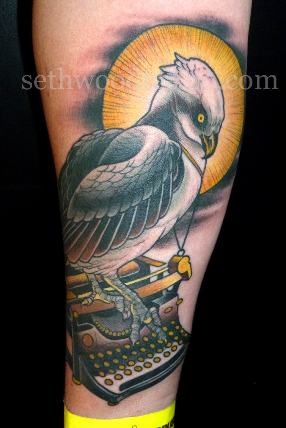 Happy Birthday to Seth Wood! sethwoodtattoo:  Unusual subject matter is rarely an isolated incident.  If it comes, it usually comes in waves. That being said, here are some tattoos of typewriters that i've done. (Above) An Osprey perched on a typewriter for Tomas, done at the Brussels Convention.  The first typewriter tattoo (by me at least), as the beginning of Jon's sleeve. @Saved Tattoo, 2010.  Robin's autobiography in abridged, anthropomorphized, homophonic, visual format. @Saved Tattoo, 2012.
