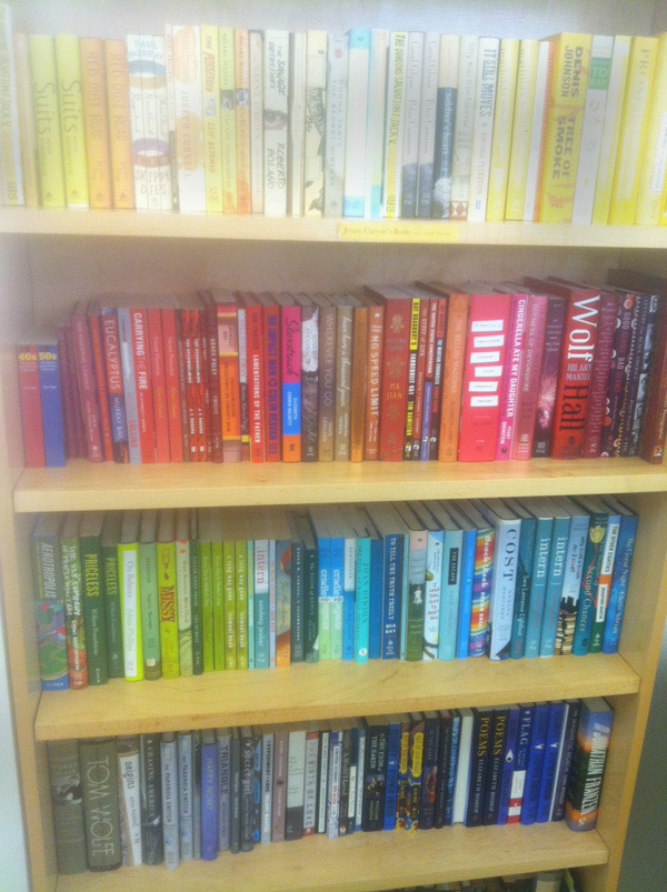 Of course the FSG art department organizes the books by the color spectrum. What did you expect, the Dewey Decimal System?