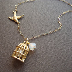 Bird Cage Necklace - Gold Filled