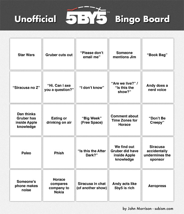 "subism:  The Unofficial 5by5 Internet Radio Bingo Board  ""BULK bag"""
