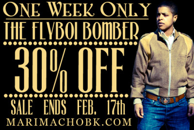 Our Valentine's Day gift to you, 30% OFF OUR FLY BOI BOMBER JACKET!!! Sale ends February 17th!!! Shop at marimachobk.com