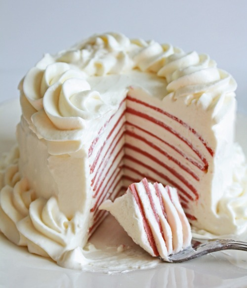 """Low Carb Red Velvet Crepe Cake"""
