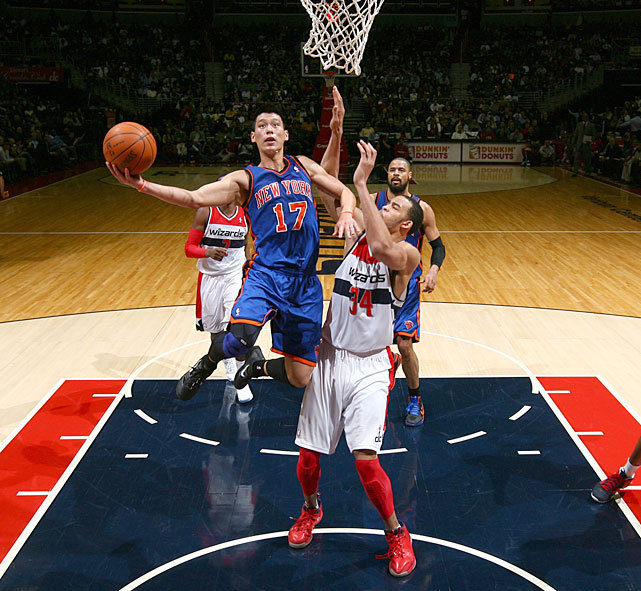Jeremy Lin drives to the hoop against JaVale McGee during the Knicks-Wizards game earlier this week. Lin has led the Knicks to three straight victories. Can they keep it up on Friday against the Lakers? (Ned Dishman/NBAE via Getty Images) TAYLOR: Lin's road has been one full of rejectionAMICK: Strange circumstances brought Lin to NYVIDEO: How is Lin handling sudden popularity?