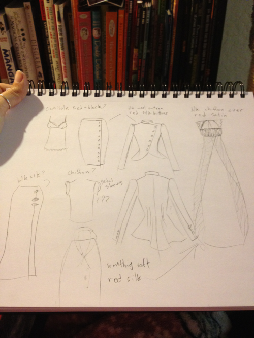 Rough sketches of part of my Femme Fatale line. I'm sad to cull the gown on the right since it doesn't fit within my sportswear theme.