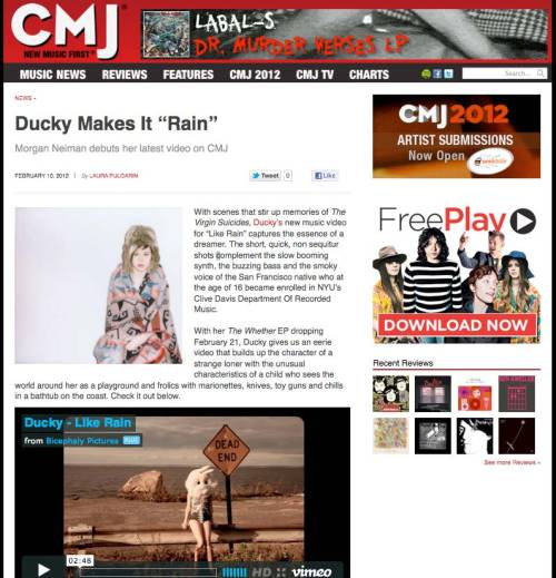 Our video for Ducky's LIKE RAIN exclusively premiered on CMJ!