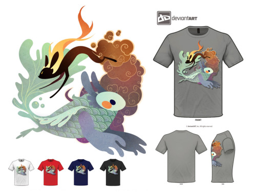 "Here it is! T-Shirt design contest on DA! There are so many cute entries, please take a look!I wanted to come up with a cute design really fast for this awesome contest, because everyone loves monsters. Here we have a very cute fire monster, and a cute water monster going around and around! I'd appreciate any votes or feedback from you guys! If I win, I'll be sure to give away a few of the shirts made back to you guys who voted. It's only fair!To vote for the cutie fire and water monsters please click ""I'd wear this!"" right beneath the Favourites button , every vote will help~! Here is the link to vote! http://flying-fox.deviantart.com/art/Fire-and-Water-Monsters-284318093"