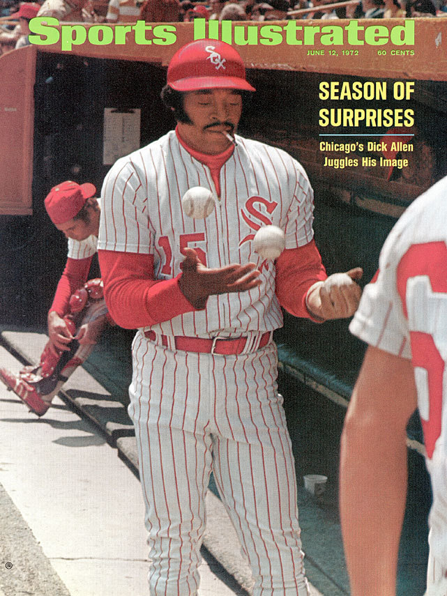 This cover featuring Chicago's Dick Allen juggling baseballs while smoking cigarettes is nearly 40 years old. Allen had been traded to the White Sox for Tommy John prior to the start of the season and was rejuvinated - hitting 37 home runs, driving in 113 runs on his way to the MVP Award. (John Iacono/SI) SI VAULT: Chicago's Allen stars in a season of surprises (6.12.72)