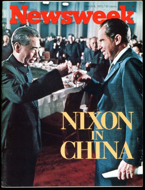 "Nixon Visits China  The two nations see virtually every other country in the world — with the possible exception of the Soviet Union — through different lenses; some of America's firmest commitments are to lands, like Japan, that Peking holds to be adversaries. And the conflicting political philosophies and social systems that have been nurtured over the years present obstacles to understanding and wholehearted cooperation that will not be easily surmounted. Yet even at that, Mr. Nixon's journey achieved the goal of breaking a long silence. It also ushered in a new age of pragmatism that is certain to have an influence around the globe. As one student of foreign affairs suggested: ""The talks in Peking could turn out to be one of the hinges of postwar history.""  Newsweek March 6, 1972"