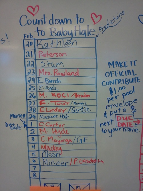 5 of 10 Predictions from my co-workers about when Selah will be born. I am rooting for leap day…or before…