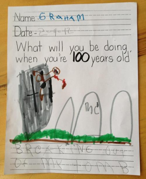 "derplodge:  katykelley:  ""Breaking out of my tomb"". Graham is my 6-year-old cousin and he has a healthy obsession with zombies.  This kid is officially awesome"