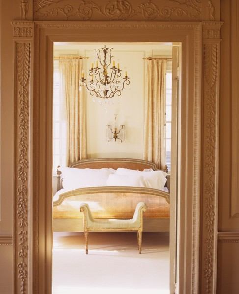 sararussellinteriors:  This boudoir is completely peaceful and elegant. With intricate moldings, glistening crystal lighting, crisp white sheets and earth tone colours … what more does this dreamland need?