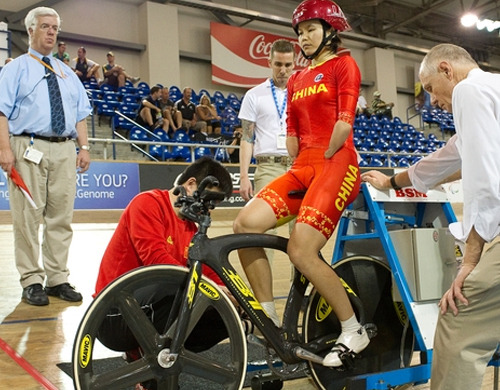 PARA CYCLING WORLDS: LIVE STREAMING   Medals were awarded as records fell during day one of the Para Cycling Track World Championships yesterday at HDC Velodrome.  If you can't make it out to the track but want to watch some of the competition, here's a LIVE STREAM (goes live at 4pm PST).  Photo of China's Jianping Ruan who broke her own World Record yesterday from the UCI website.