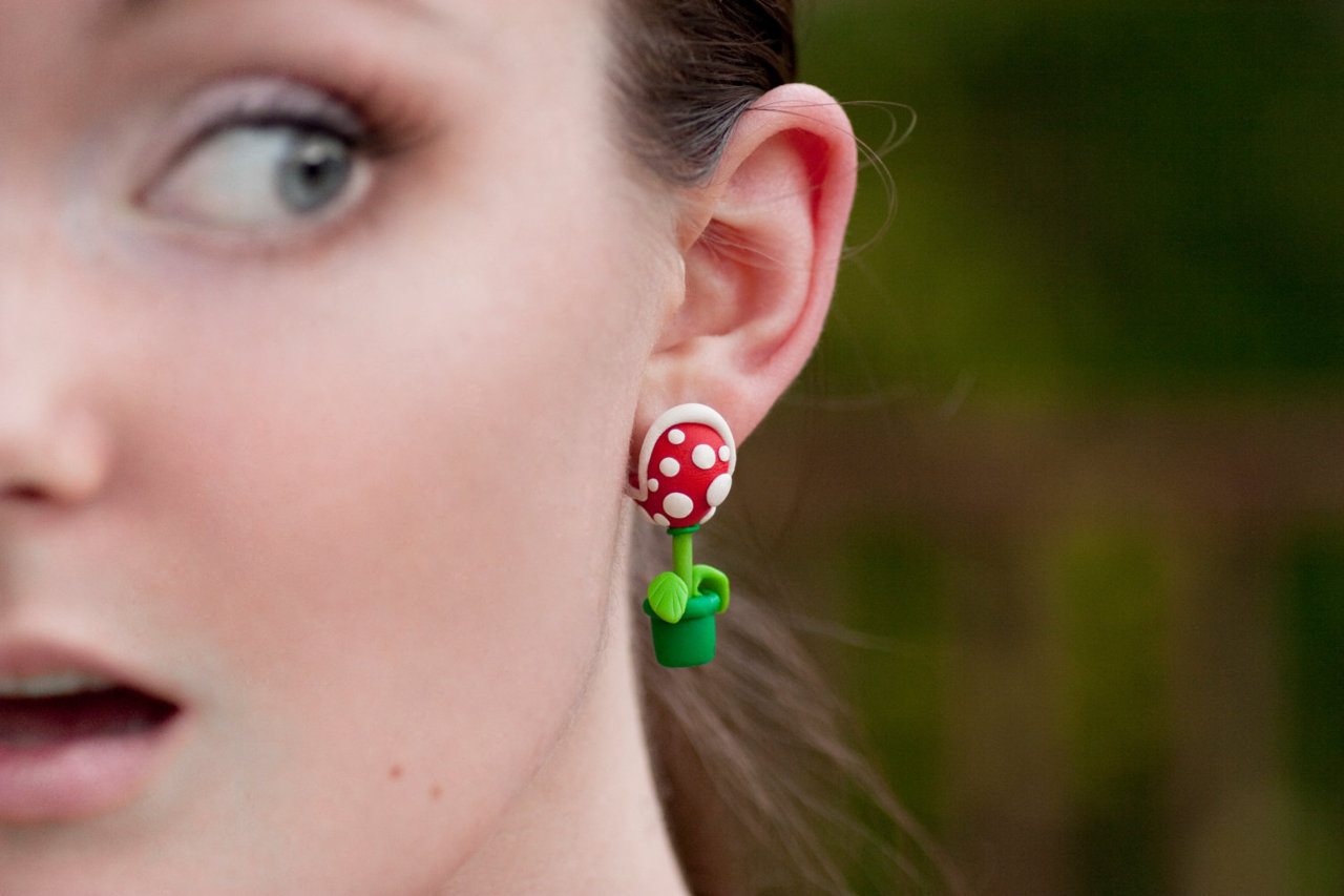 Piranha Plant Earrings (via lizglizz on Etsy)