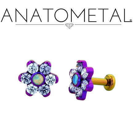 16ga Flat Back Labrets w/Threaded Flower Ends in ASTM F-136 titanium, anodized copper/blurple; Lavender CZ, synthetic Tanzanite, synthetic Faceted Opal gems