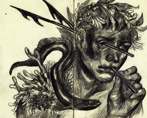 "caitlynkurilich:  Sessile, Graphite on Moleskine, 10"" x 8"", 2012"