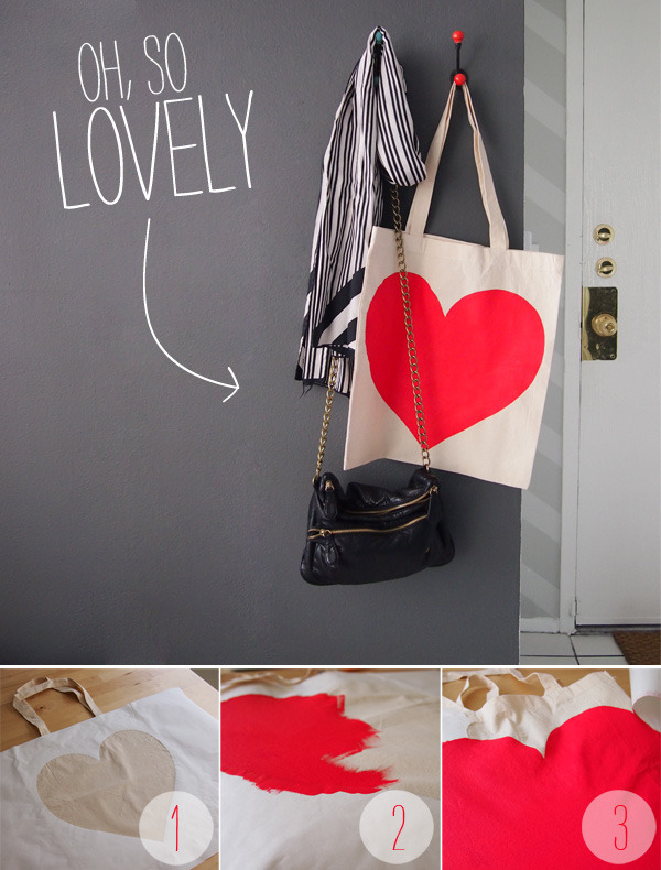 Freezer Paper Stenciling: This is such a quick and easy alternative to screen printing when you want to make a simple one of a kind piece. Works great on t-shirts, pillowcases, bags, etc.  Supplies: Fabric  Freezer Paper (found near the saran wrap in the grocery store) Fabric Paint Iron Exacto Knife Foam Paint Brush Cardboard Directions: Draw your design on your freezer paper with the shiny side down and then cut it out with your exacto knife. Then place your freezer paper stencil on your fabric in the desired location. After you've placed your art, with the shiny side down, iron the freezer paper with medium heat. I went over mine several times so that I made sure it was secure. Pay attention to the edges.  Now that the paper is secure, it's time to paint. When I painted the heart, I made sure to pull the brush in from the edge to the center so that it didn't push any paint under the freezer paper. Once everything is covered, let it set for an hour and then pull off the paper. Check your paint instructions as they may vary, but mine took about 4 hours to fully be set.  I did the same design on a tshirt and washed it inside out the next day and it turned out great!