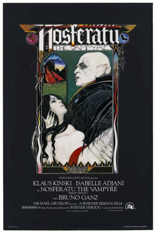 fuckyeahmovieposters:  Nosferatu the VampyreSubmitted by dieorfree  Oh hey!  I'm in the middle of watching Shadow of the Vampire (2000), with John Malkovich as F.W. Murnau and Willem Dafoe as Max Schreck/Nosferatu/Count Orlock!  If I had to pick a favorite movie, under pain of death, it would be Murnau's original Nosferatu.  :')  I've never seen Herzog's, but IT'S ON MY LIST BABY.