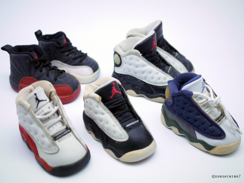 solesclothesandhoes:  Baby Playoff /Bred 12's, Chicago/Flints/Black Toe 13's