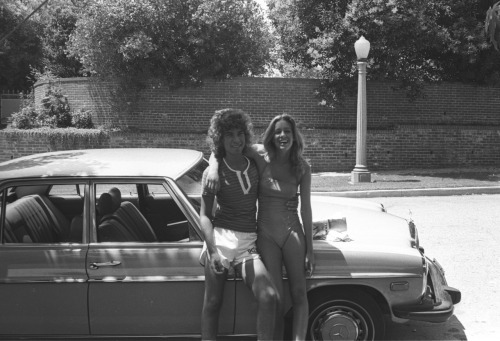 In L.A. cool cars have always been chick magnets. Always has been and always will be that way. Around 1977 I had sold so many photos of rock starts to Japanese magazines that I was able to buy my first car. It was a really cool second hand Mercedes that had only 10,000 miles on it. That's me on the left with a girlfriend Jeri. She was so incredibly sexy and so was my car!  Photo by Brad Elterman