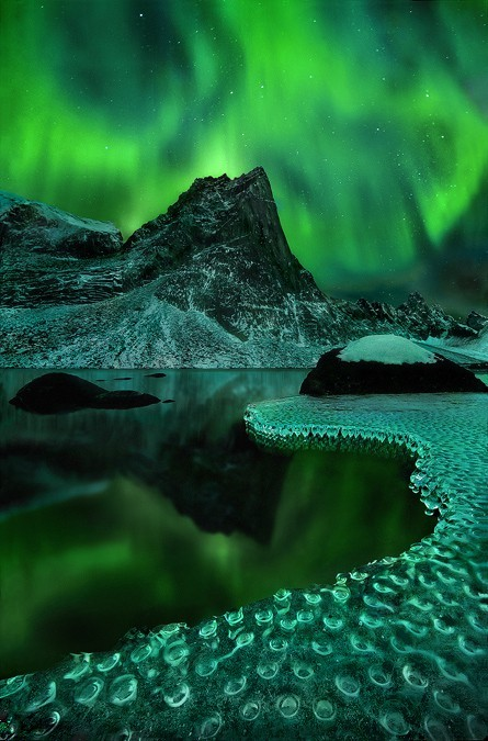 "heyfootballhead:  best aurora photo i've ever seen ""Green Vision"" by Marc Adamus. Aurora borealis reflected on a frozen lakeshore in the Yukon Territory."