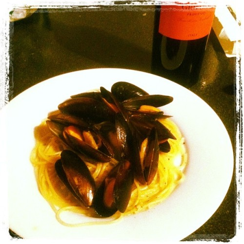 Nice and simple dinner mussels and pasta (Taken with instagram)
